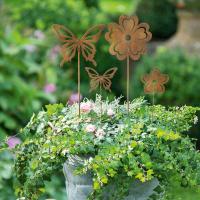 Gartenstecker Blume & Schmetterling 4er Set