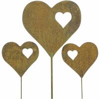 Gartenstecker Herz 3er Set
