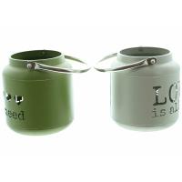 2er Windlicht oliv/grau