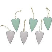 6 Dekohänger Pastell-Herzen